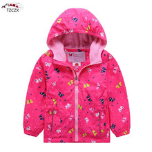 Children girls jackets European and American style Windproof rainproof kids hooded coats