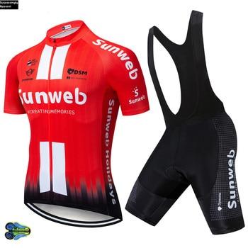 Equipo UCI 2019 Sunweb, camiseta de Ciclismo rojo, conjunto de pantalones cortos...