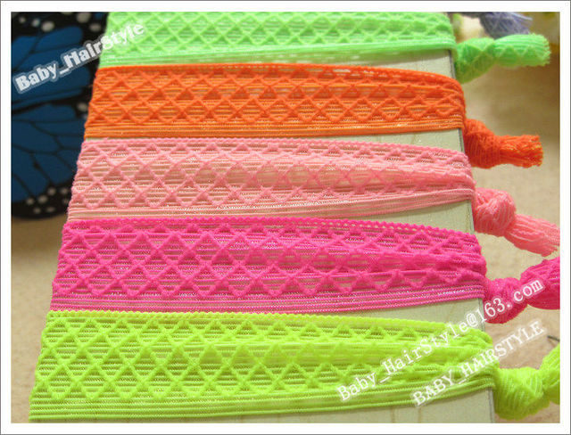 50pcs Hot Sale 10 Color Fold Over Hair Tie Hair Ribbon knot Bracelet Elastic Wristbands Baby Girl's Hair Accessories