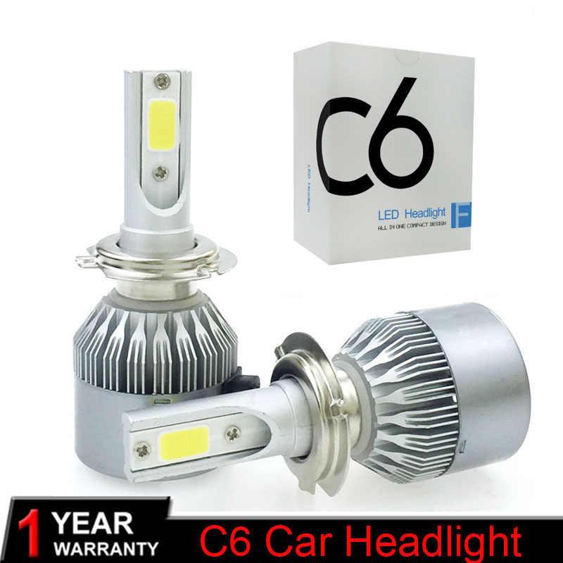 Muxall  2Pcs LED Car Headlight Kits COB Chips H4 H7 HB3/9005 HB4/9006 H1 H3 H11 72W 7600Lm Auto Lamp Fog Lights 12V 24V 6000K