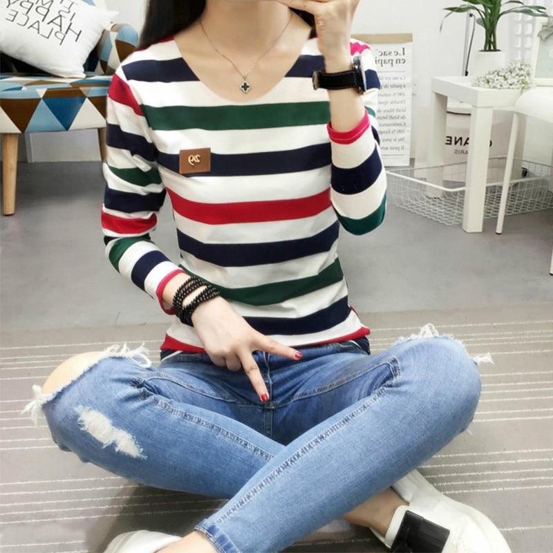 HTB1HbCFGMaTBuNjSszfq6xgfpXaQ - Autumn Korean Female harajuku Long Sleeve T-shirt Women Colorful