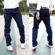 New 2015 Fashion Pencil Pants Men's Jeans Slim Fit Straight Trousers Straight Leg Size:28-34 blue