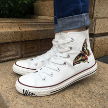 Wen 2017 New Men Women's Canvas Shoes Butterfly White High Top Sneakers for Christmas Birthday Gifts