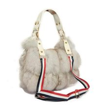 100% Real Fur Women Handbags Real Silver Fox Fur Messenger Bags Female Blue Fox Fur Purse Envelope Bag Real Leather Evening Bag(China)