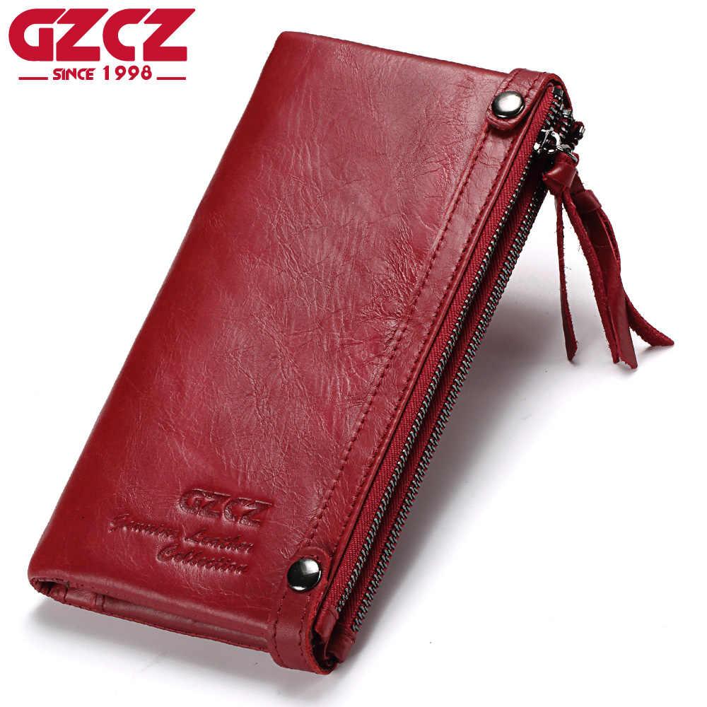5e34fd21d6f0 GZCZ Genuine Leather Women Long Wallet Female zipper clamp for money Clutch  Coin Purse Card Holder