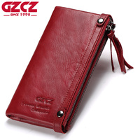 GZCZ Genuine Leather Women Long Wallet Female Zipper Clamp For Money Clutch Coin Purse Card Holder