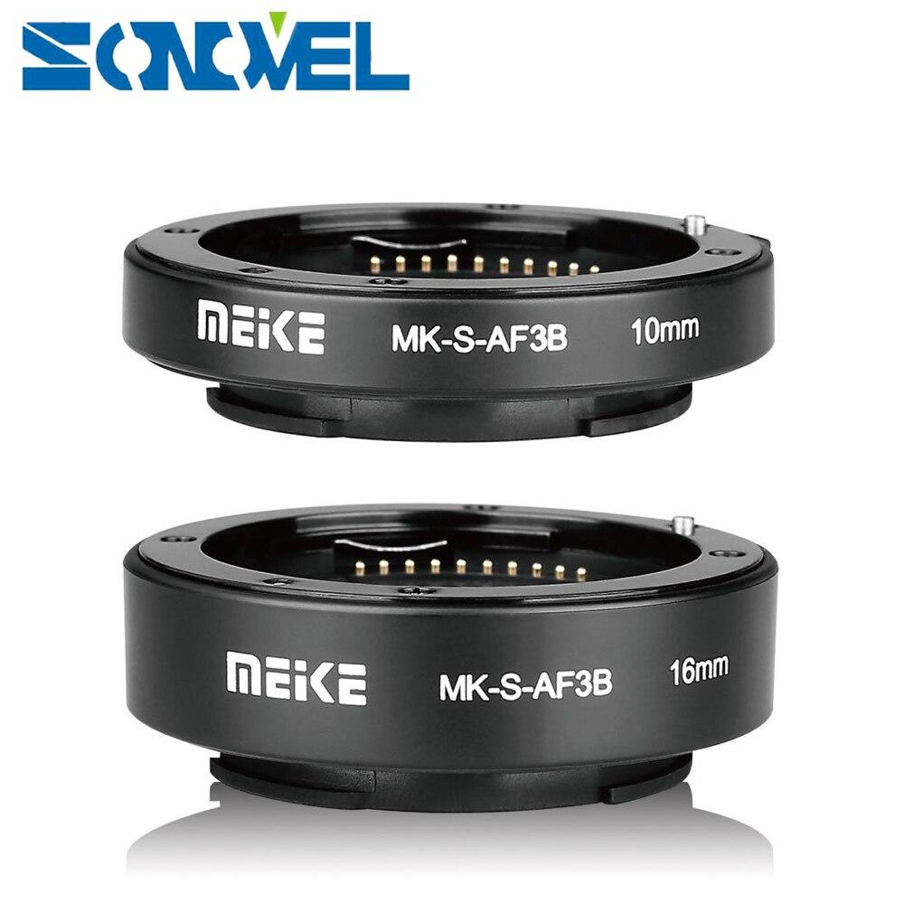 Meike auto focus macro Extension tube 10mm 16mm para Sony e-mount fe de montaje cámara sin espejo a7 A7R A7M2 NEX-F3 A3500 A6300 A6500