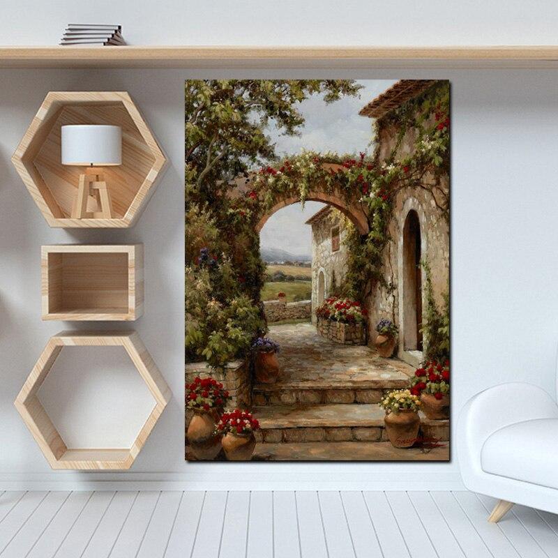 Abstrakte Pastoralen Haus Blumen Tür Landschaft Ölgemälde HD Druck auf Leinwand Garten Poster Wand Kunst Bild für Livinng Zimmer
