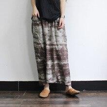2016 Women Cotton Linen Calf Length Loose Pants Casual Print Ladies Elastic Waist Harem Pants Female Plus Size Trousers