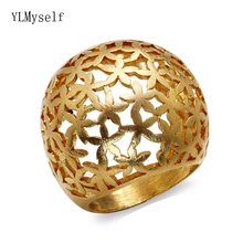 Satin-Gold color plated Big Hollow flower design ring Beautiful Party Brass jewelry for women rings
