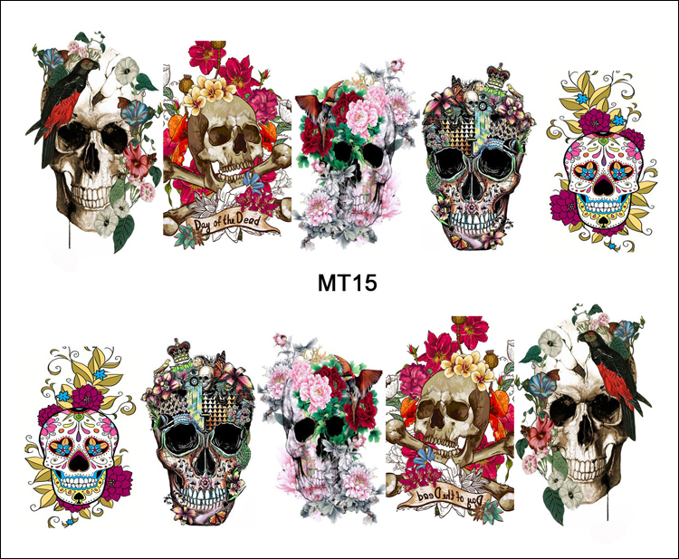 1 Sheet Nail MT15 Full Cover Flower Crown Skull Fashion Nail Art Water Transfer Sticker Decal
