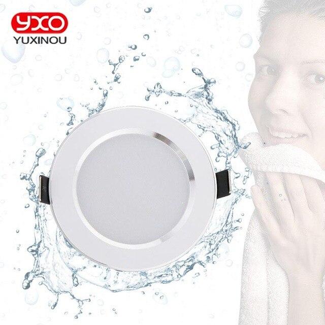מכירה לוהטת 5 w 7 w 9 w עמיד למים LED Downlight ניתן לעמעום חם לבן קר לבן 3 צבע שקוע LED מנורה ספוט אור AC85-265V