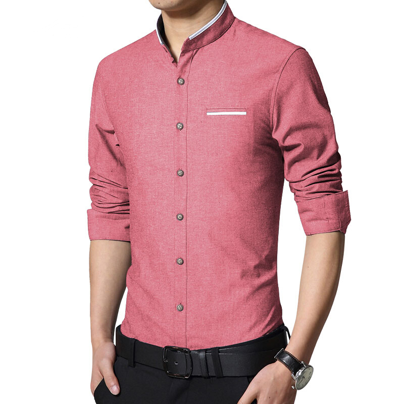 New Fashion Casual Mens Shirt Manica Lunga Mandarino Collare Slim Fit Shirt Da Uomo Coreano Affari Mens Dress Camicie Uomo Abbigliamento M-5XL