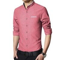 New Fashion Casual Mens Shirt Manica Lunga Mandarino Collare Slim Fit Shirt Da Uomo Coreano Affari Mens Dress Camicie Uomo Abbigliamento M-5XL