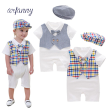 Newborn Babydress Baby Clothes Gentleman Dress Plaid Striped Short Sleeve Onesies/Climbs + (Hat)