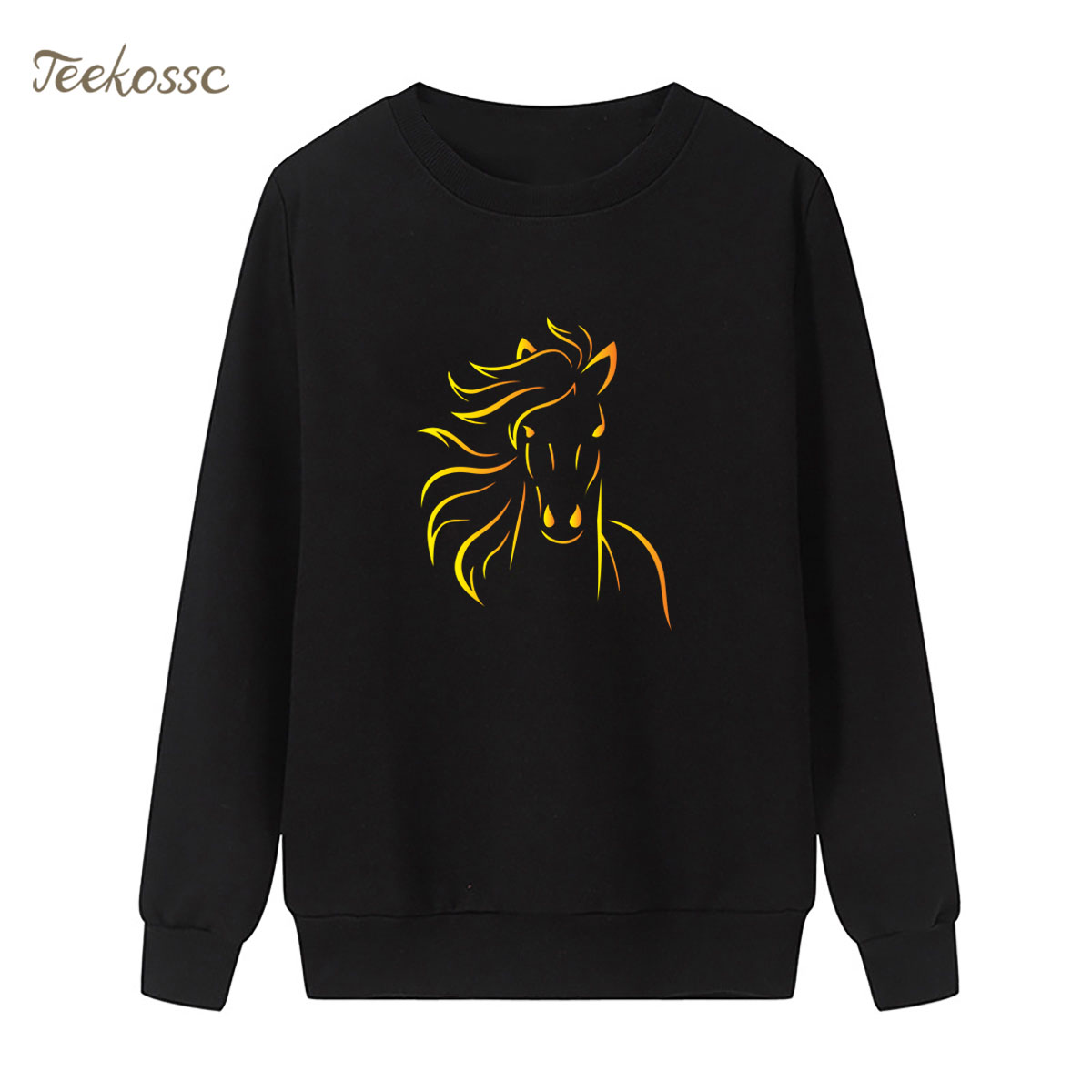 Horse Sweatshirt Black Cool Hoodie New Fashion Winter Autumn Women Lasdies Pullover Fleece Warm Loose Streetwear Brand Clothing