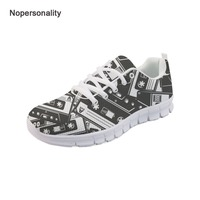 Nopersonality Vintage Cassette Tape Print Women Sneakers Breathable Female Ladies Spring Autumn Flats Breathable Mesh Shoes Plus