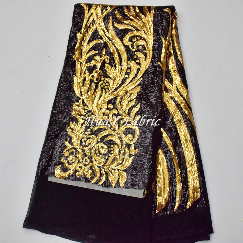 Heavy Gold Sequin Fabric high quality african tulle lace fabric for top party dress HY0251