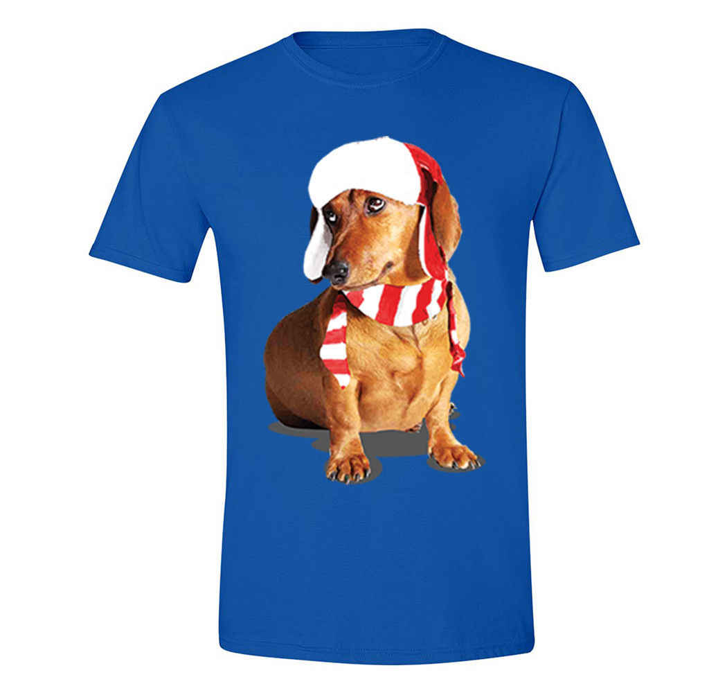 Mens Dachshund Wiener Dog Lover Santa Scarf Winter Christmas Sweater T-Shirt