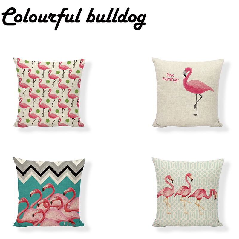 Pretty Cushion Cover Pink Flamingo Geometric Background 17 Inch Fashion Letter Pillow Case Home Party Decorate Children Gift