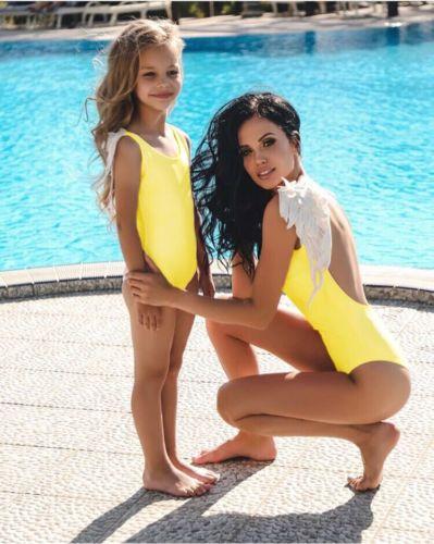 2019 famille correspondant mère maillot de bain mère fille femmes enfant bébé fille plume maillots de bain maillot de bain plage maman fille vêtements - 3