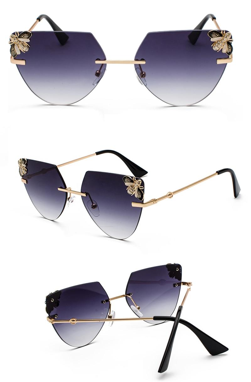 Rhinestone Cat Eye Sunglasses Ladies Triangle detail (5)