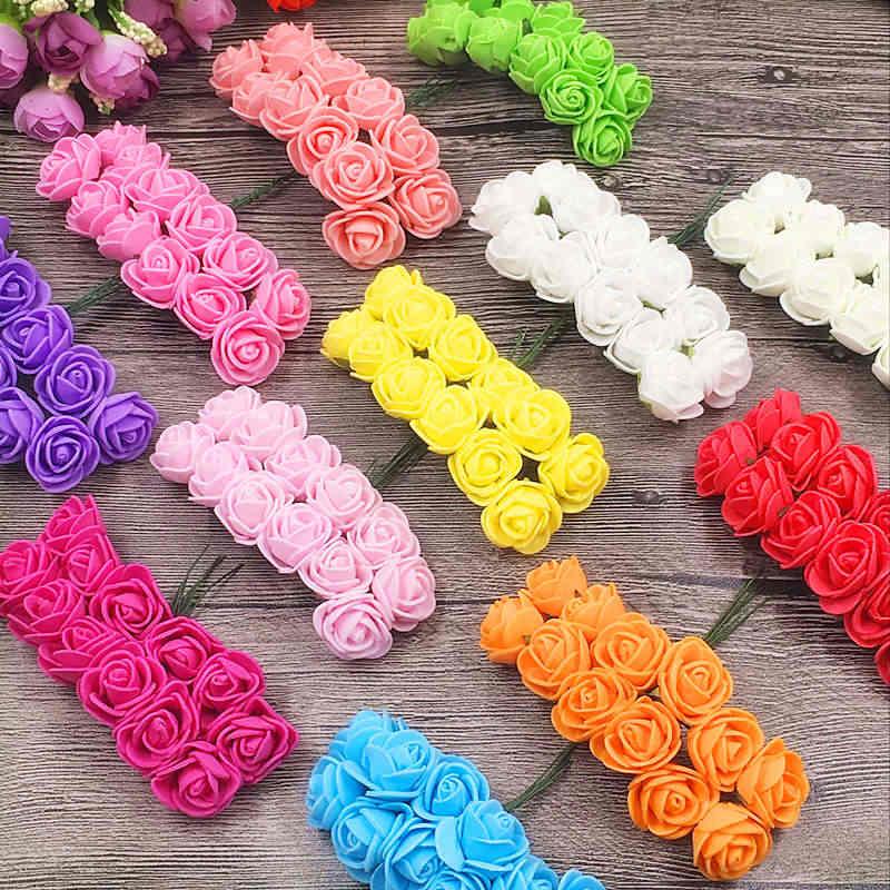 12 pçs/lote NOVA Espuma PE Rose Flor Artificial Para O Casamento Partido Home Decoração Mariage DIY Scrapbook Artesanato Flor Rosa Guirlanda