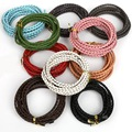 New 2meters/lot 3mm Diameter Multicolor Round Genuine Braided Leather Cord Necklace Bracelet DIY Jewelry Accessories