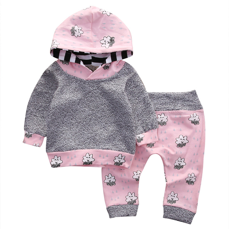 Pink Newborn Baby Girl Clothes Set Cute Smile Cloud Bebes Hooded Top+Pants 2pcs Autumn Winter Outfits 2017 New Kids Clothing Set