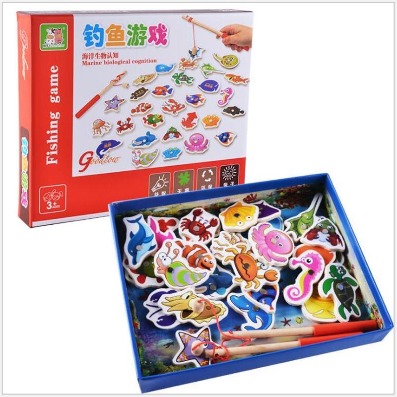 Baby Pädagogisches Spielzeug 32 stücke Magnetische Holz Angeln Spielzeug Set Fisch Spiel Pädagogisches Angeln Spielzeug Kind Geburtstag/Weihnachten Geschenk