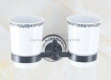 Bathroom Black Oil Rubbed Brass Toothbrush Holder Brass Base Dual Ceramics Cups Wall Mounted Nba761 black oil rubbed brass wall mounted kitchen
