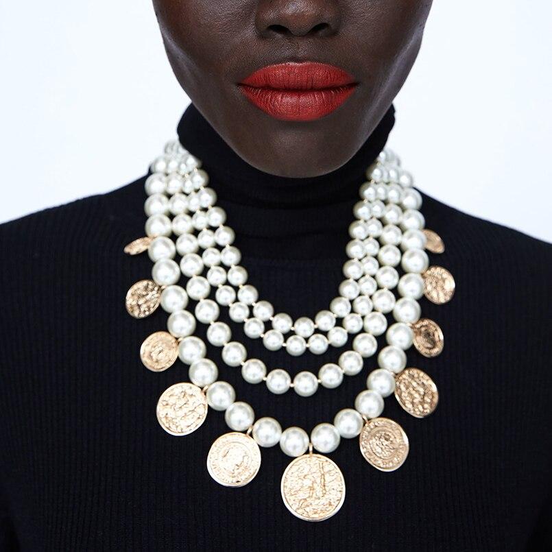 MANILAI ZA Bijoux Simulé Perle collier de déclaration Pour Les Femmes Bohème De Mode Or Couleur pendentif colliers ras de cou 2019