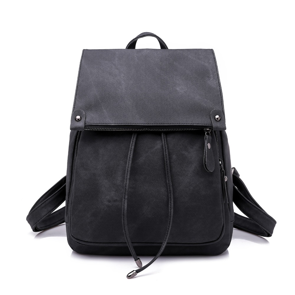 Women Leather Backpack College wind shoulder bag PU leather School Bags For Teenage Girls fashion ladies backpack H16 in Backpacks from Luggage Bags