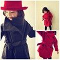 Nova Moda Meninas De Lã Trench Coats Outerwear & Casacos Crianças Casaco de Lã Menina Retro Casaco Jaqueta de Inverno e Casaco para 4-11Year