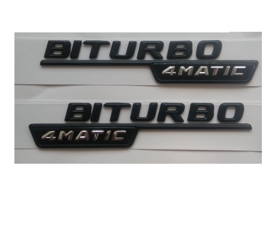 "Discount Mercedes Parts >> Newest "" BITURBO 4MATIC "" ABS Plastic Car Trunk Rear Letters Badge Emblem Decal Sticker for ..."