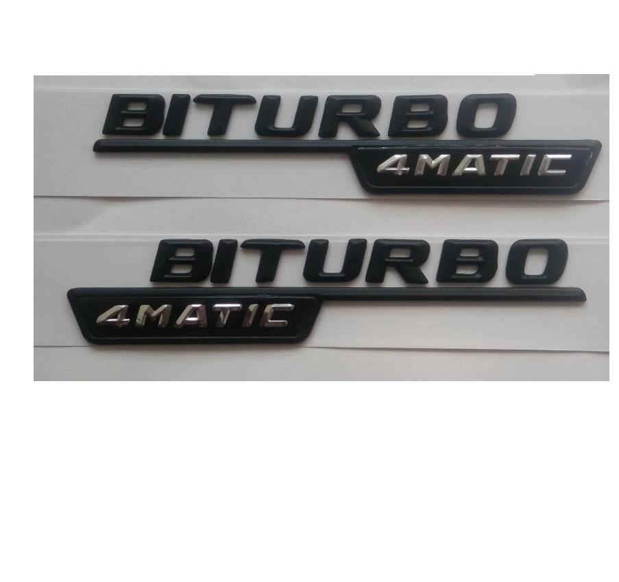E925 2 pcs.Biturbo 4 Matic Both Side Emblem Black Lettering Badge car Sticker car Sticker