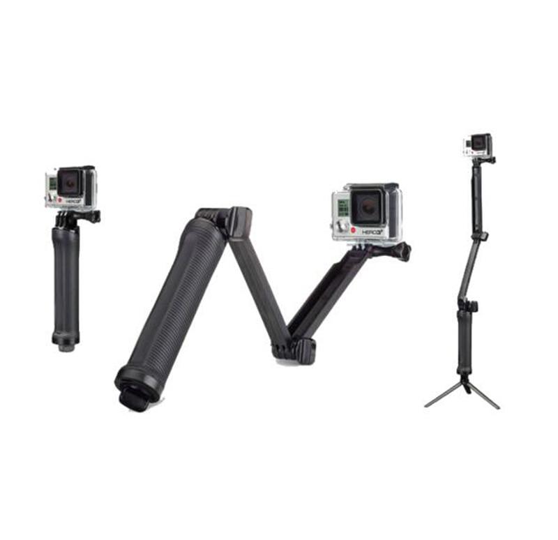 3-way Grip Arm Tripod Monopod 3 way Selfie stick Mount For Gopro Hero 4 3 3+ xiaomi xiaoyi SJCAM sports camera
