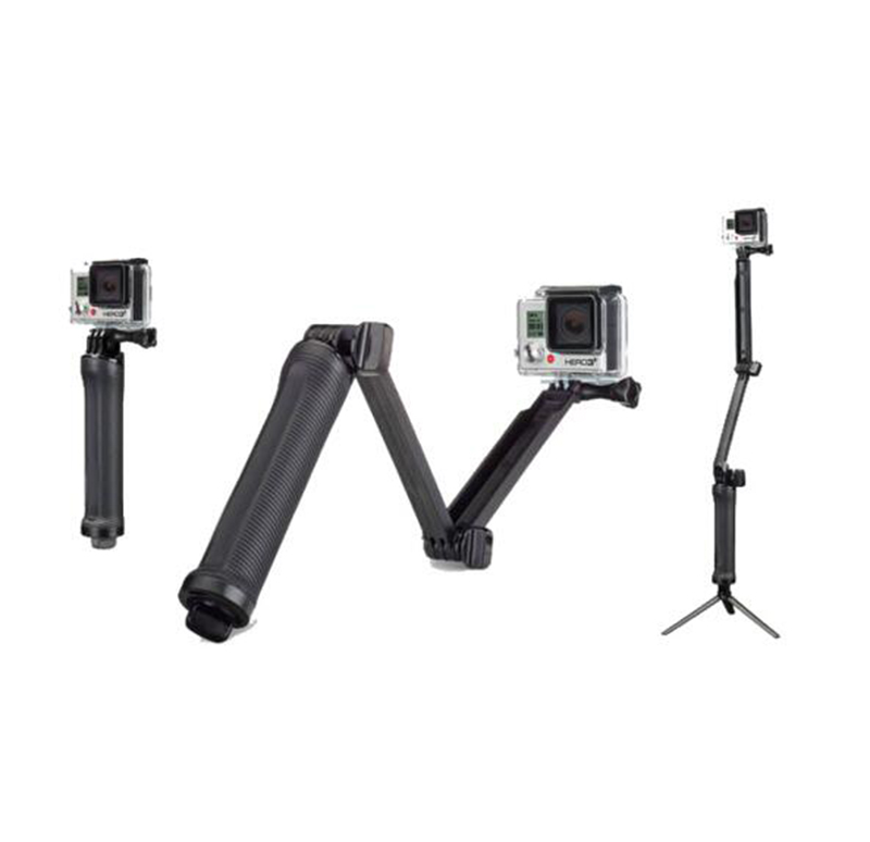 3-way Grip Arm Tripod Monopod 3 way Selfie stick Mount For Gopro Hero 4 3 3+ xiaomi xiaoyi SJCAM sports camera