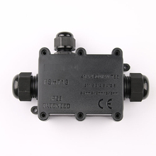 Waterproof junction box  junction box IP68 underwater wiring black one into two out outdoor with terminal black out watch box