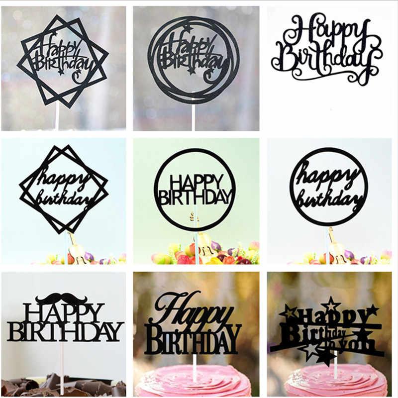Happy Birthday Cake Topper Decorações Da Festa de Aniversário Crianças Decoração Aniversário Aniversário Bebê Chuveiro Menino 50 Ouro Bolo Topper