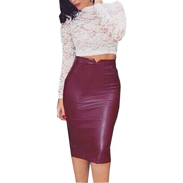 Las mujeres de cuero de la PU Falda larga de Color sólido Slim de cintura  alta d2a80b7cce82