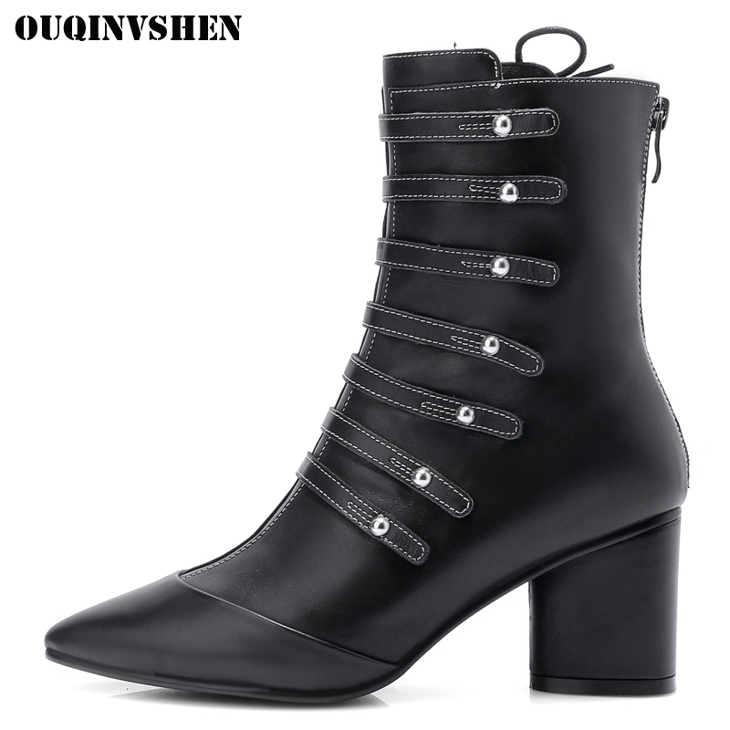 OUQINVSHEN Pointed Toe Square heel Women Boots Casual Fashion Ladies High Heel Ankle Boots 2017 Zipper Rivet Women's Boots Shoes nemaone 2018 women ankle boots square high heel pointed toe zipper fashion all match spring and autumn ladies boots
