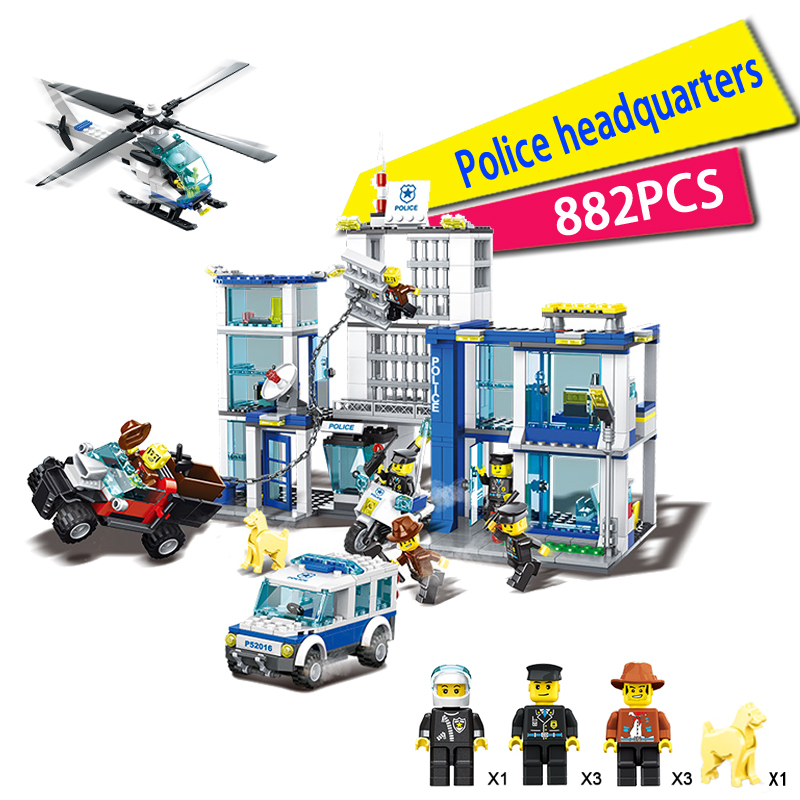 2018 Classic Toy Urban Police Station building bricks helicopter jail cell add fugitive figures models blocks toys for kids classic toy urban police station building bricks helicopter jail cell add fugitive figures lepincity models blocks toys for kids