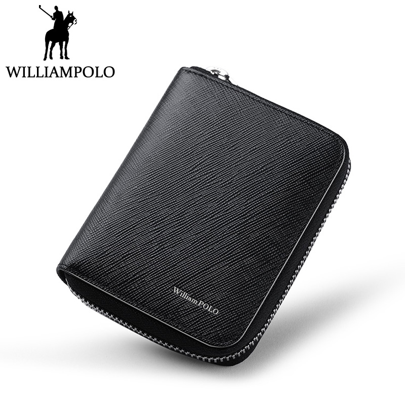 WILLIAMPOLO Genuine Leather Zipper Purse Pouch Small Short Wallet Men 2018 New Portable Wallet Slim Design Blue Black Soft williampolo small wallet zipper purse genuine leather men wallet mini short pouch black brown blue 2018 trendy style