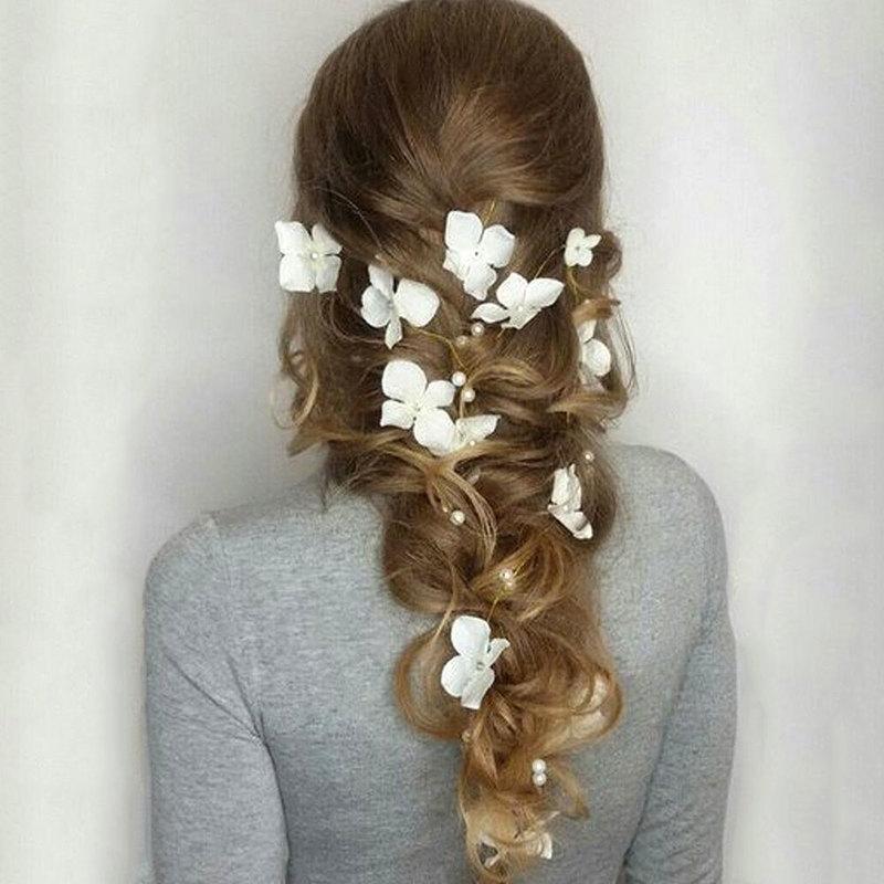 Платье для волос с цветами, жемчужное украшение для свадьбы, украшения для волос ручной работы