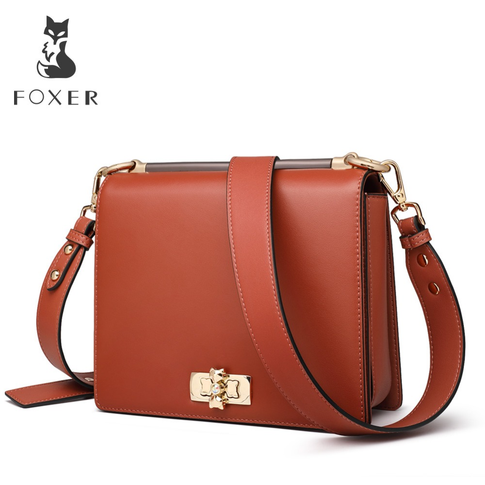 FOXER Lady Small Flap Bag Large Capacity Luxury Shoulder Bags Women Split Leather Soft Crossbady Bag