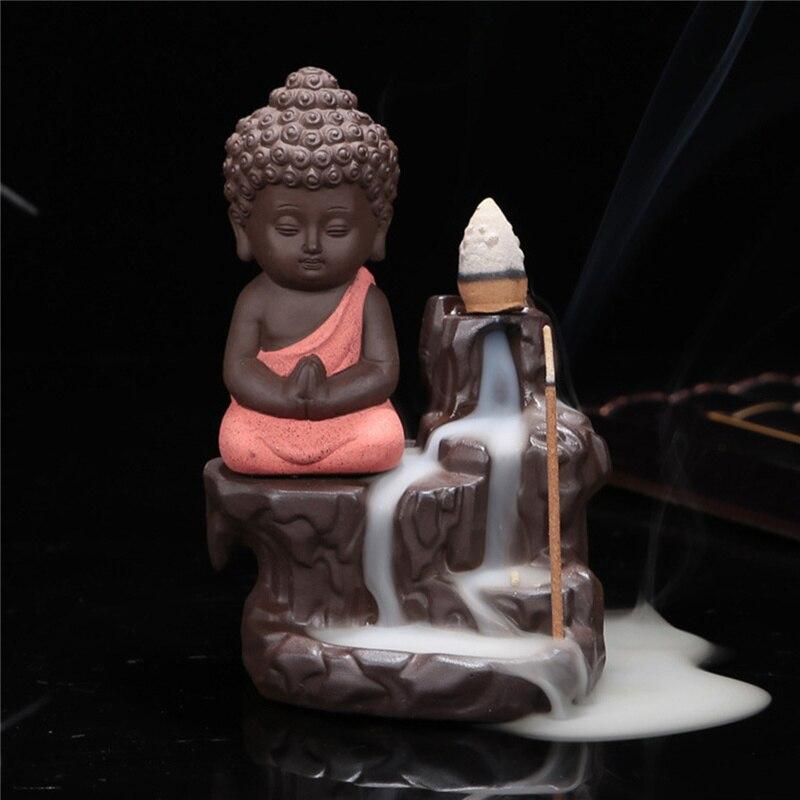 Nouvelle chinois bouddha en céramique brûleur d'encens encensoir titulaire ensemble avec joss bâtons accueil salon chambre bureau décor décoration