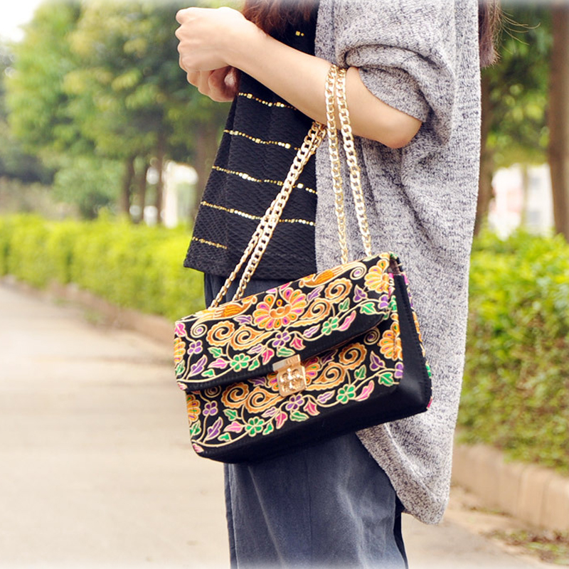 Bohemia embroidered small square bags Ethnic women inclined cross-bags vintage Chain bags ethnic embroidered black cami dress for women