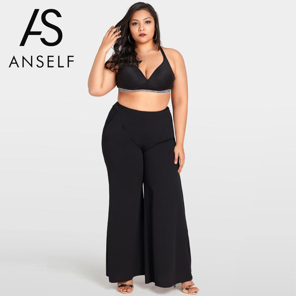 Women   Wide     Leg     Pants   High Waist Casual Loose Trousers 3XL Plus Size Flare   Pants   Oversized Sweatpants Female palazzo   pants   Black