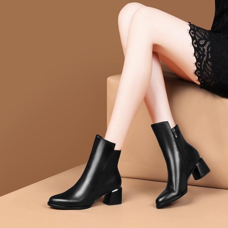 ZVQ รองเท้าผู้หญิง 2019 ใหม่ล่าสุดแฟชั่นคุณภาพสูงของแท้หนังรอบ toe สแควร์ส้นซิปสีดำข้อเท้า-ใน รองเท้าบูทหุ้มข้อ จาก รองเท้า บน   3